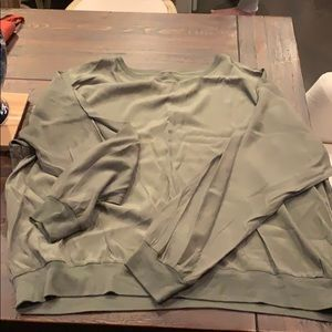 Lou & Grey Silky Sweatshirt Army Green Large